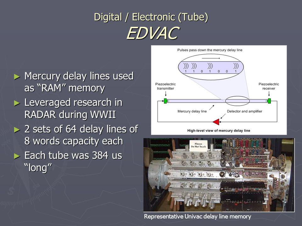 Digital / Electronic (Tube) EDVAC Mercury delay lines used as RAM memory Mercury delay lines used as RAM memory Leveraged research in RADAR during WWI