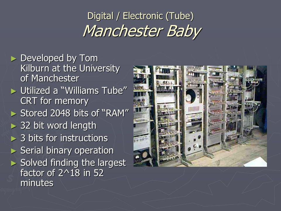 Digital / Electronic (Tube) Manchester Baby Developed by Tom Kilburn at the University of Manchester Developed by Tom Kilburn at the University of Man