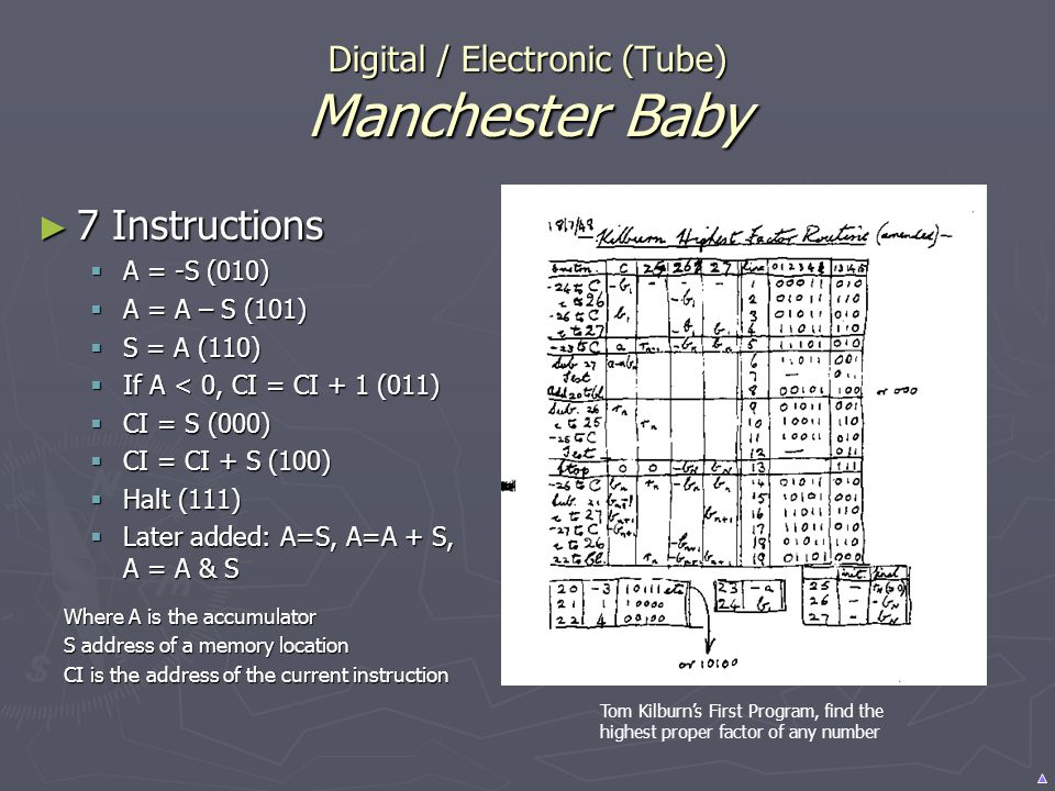 Digital / Electronic (Tube) Manchester Baby 7 Instructions 7 Instructions A = -S (010) A = -S (010) A = A – S (101) A = A – S (101) S = A (110) S = A
