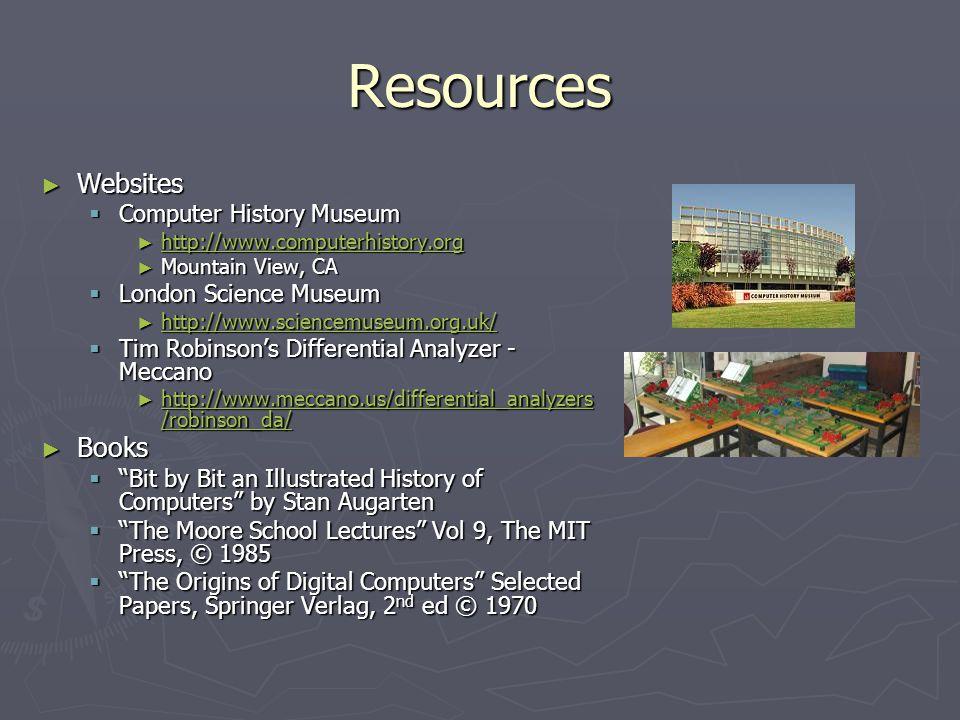 Resources Websites Websites Computer History Museum Computer History Museum http://www.computerhistory.org http://www.computerhistory.org http://www.c