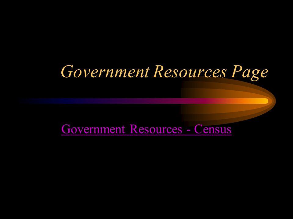 Government Resources Page Government Resources - Census