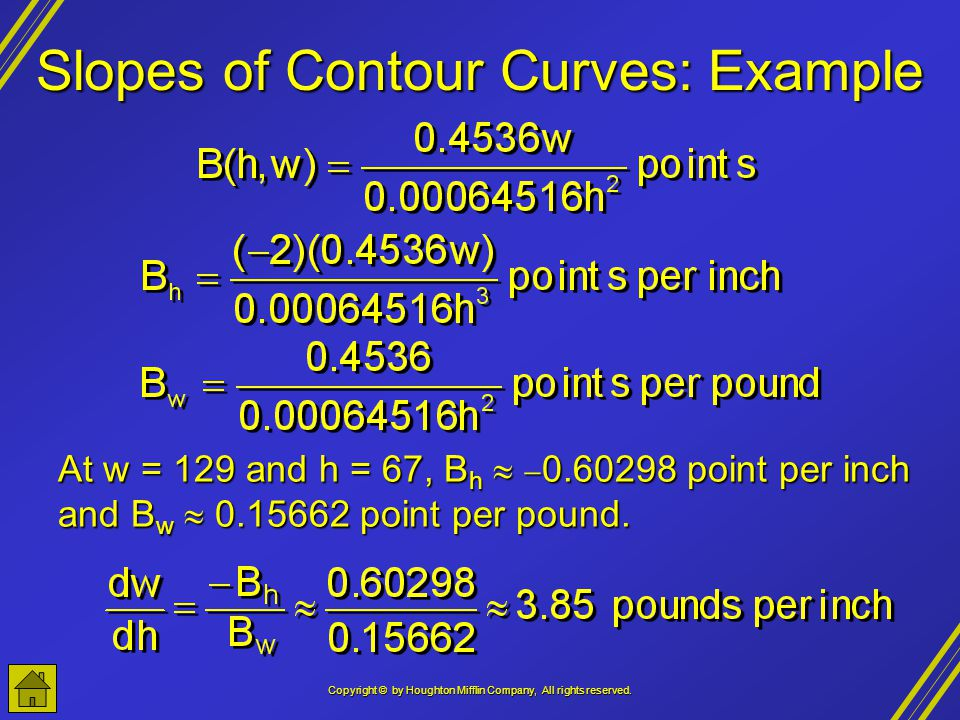 Copyright © by Houghton Mifflin Company, All rights reserved. Slopes of Contour Curves: Example At w = 129 and h = 67, B h 0.60298 point per inch and