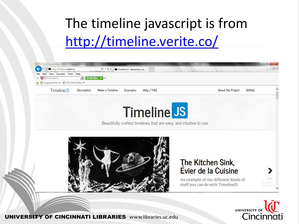 The timeline javascript is from http://timeline.verite.co/ http://timeline.verite.co/