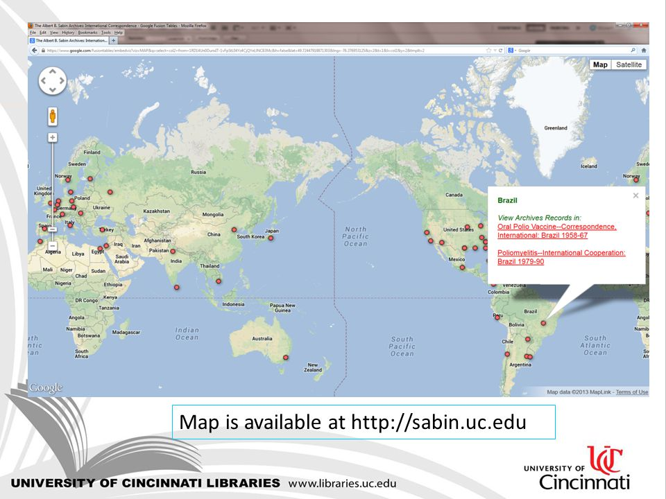 Map is available at http://sabin.uc.edu
