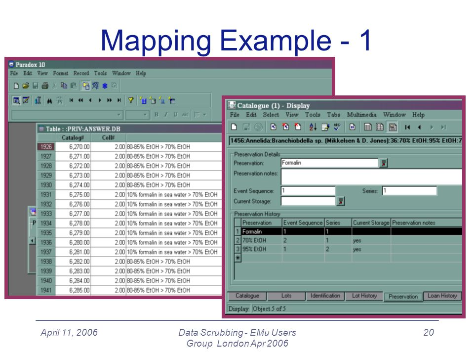 April 11, 2006Data Scrubbing - EMu Users Group London Apr 2006 20 Mapping Example - 1