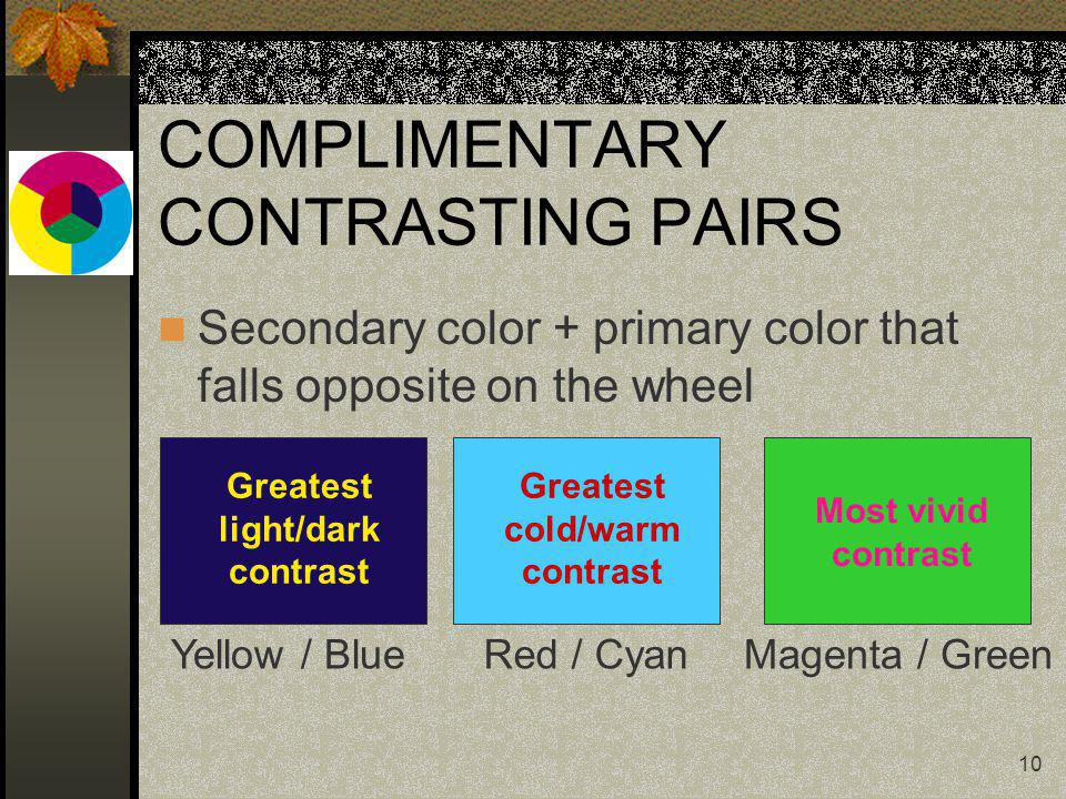 10 COMPLIMENTARY CONTRASTING PAIRS Secondary color + primary color that falls opposite on the wheel Greatest light/dark contrast Yellow / Blue Greatest cold/warm contrast Red / Cyan Most vivid contrast Magenta / Green