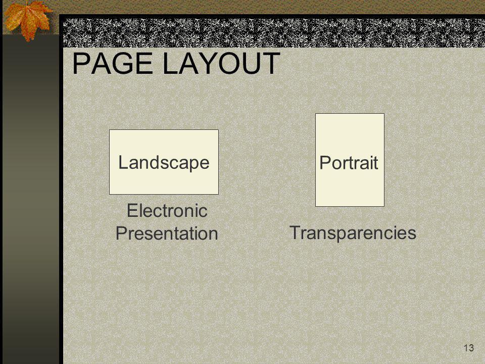 13 PAGE LAYOUT Landscape Electronic Presentation Portrait Transparencies