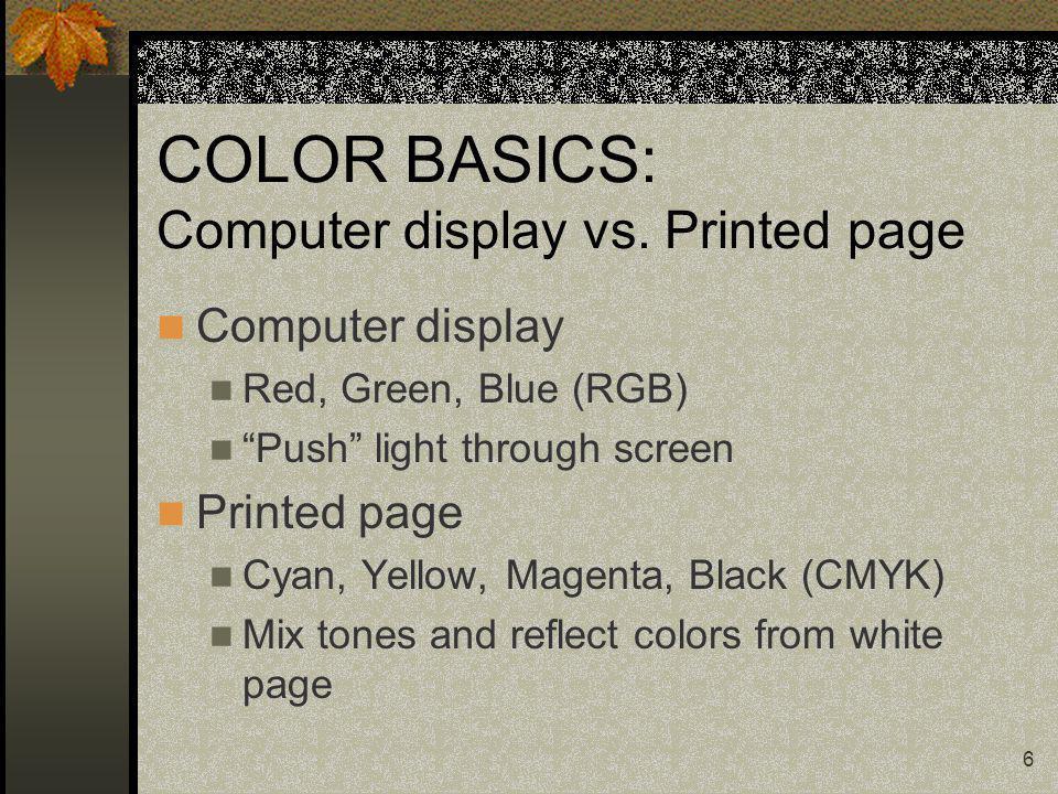 6 COLOR BASICS: Computer display vs.