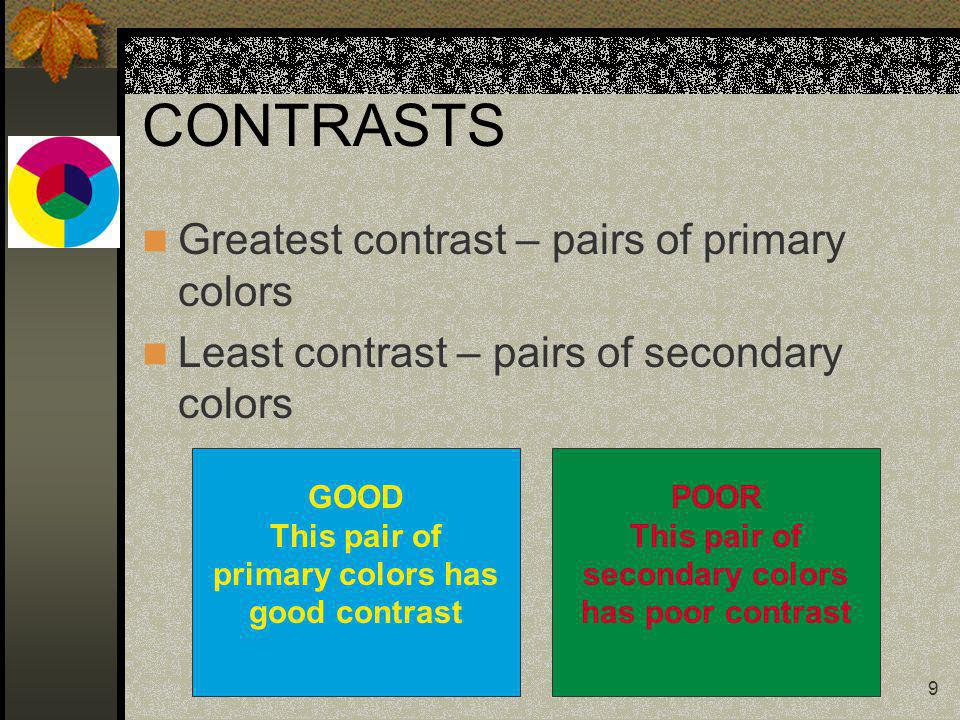 9 CONTRASTS Greatest contrast – pairs of primary colors Least contrast – pairs of secondary colors GOOD This pair of primary colors has good contrast POOR This pair of secondary colors has poor contrast