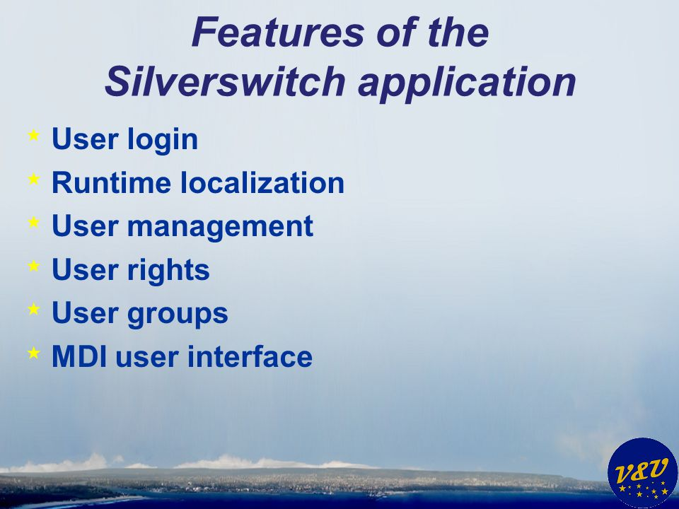 Features of the Silverswitch application * User login * Runtime localization * User management * User rights * User groups * MDI user interface