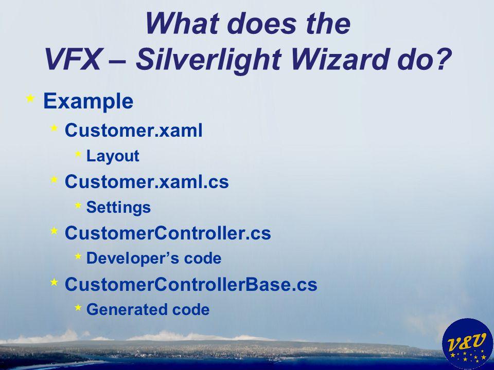 What does the VFX – Silverlight Wizard do? * Example * Customer.xaml * Layout * Customer.xaml.cs * Settings * CustomerController.cs * Developers code
