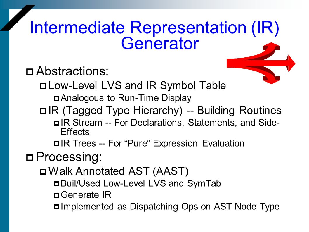 Intermediate Representation (IR) Generator Abstractions: Low-Level LVS and IR Symbol Table Analogous to Run-Time Display IR (Tagged Type Hierarchy) --