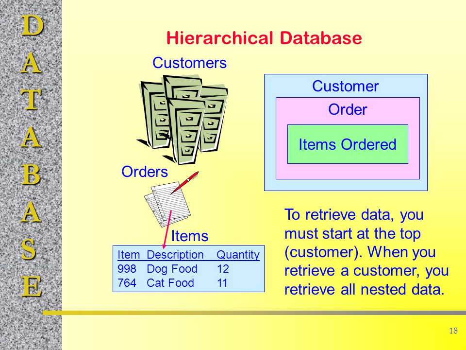 DATABASE 18 Hierarchical Database Customers Orders ItemDescriptionQuantity 998Dog Food12 764Cat Food11 Items Customer Order Items Ordered To retrieve data, you must start at the top (customer).