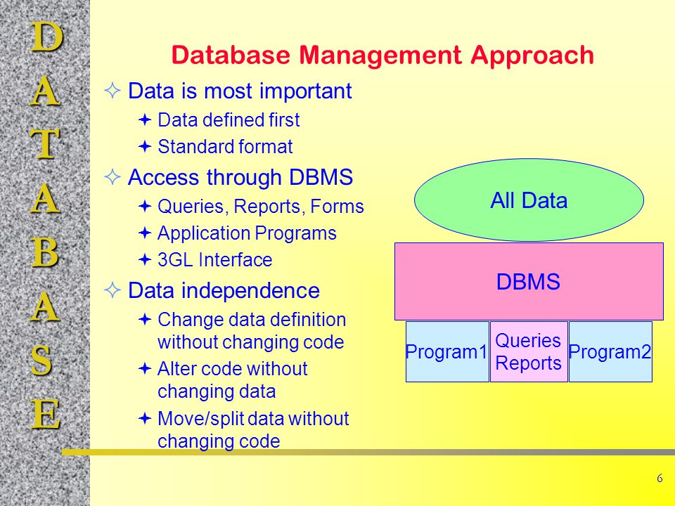 DATABASE 17 Examples of Commercial Systems Oracle Ingres Informix (Unix) DB2, SQL/DS (IBM) Access (Microsoft) SQL Server (Microsoft +) Many older (Focus, IMS,...) Many limited PC (dBASE, Paradox, …)