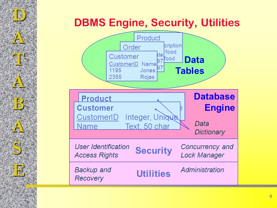 DATABASE 9 DBMS Engine, Security, Utilities Data Tables Database Engine Product ItemIDDescription 887Dog food 946Cat food Order OrderIDODate 98743-3-97 98883-9-97 Customer CustomerID Name 1195Jones 2355Rojas Product ItemIDInteger, Unique DescriptionText, 100 char Customer CustomerIDInteger, Unique NameText, 50 char Security User Identification Access Rights Utilities Concurrency and Lock Manager Backup and Recovery Administration Data Dictionary