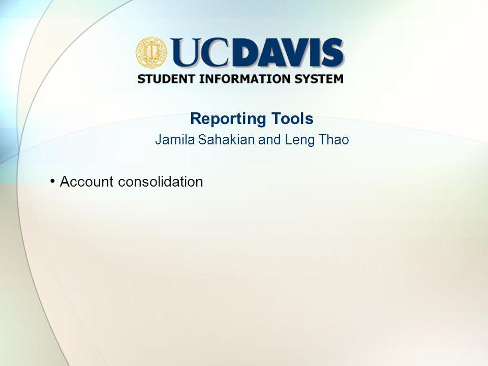 Reporting Tools Jamila Sahakian and Leng Thao Account consolidation