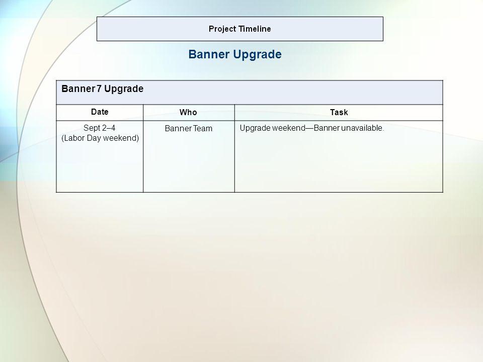 Banner 7 Upgrade DateWhoTask Sept 2–4 (Labor Day weekend) Banner TeamUpgrade weekendBanner unavailable.