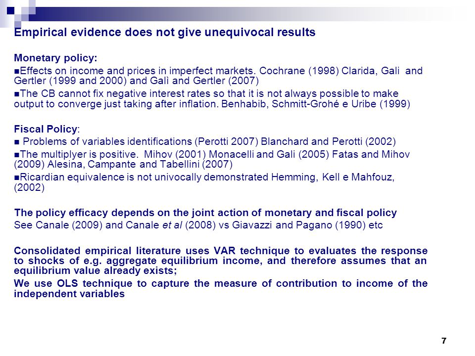 7 Empirical evidence does not give unequivocal results Monetary policy: Effects on income and prices in imperfect markets. Cochrane (1998) Clarida, Ga