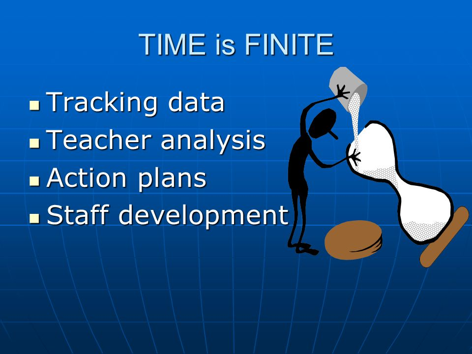TIME is FINITE Tracking data Tracking data Teacher analysis Teacher analysis Action plans Action plans Staff development Staff development
