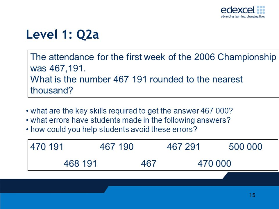 15 Level 1: Q2a what are the key skills required to get the answer 467 000? what errors have students made in the following answers? how could you hel
