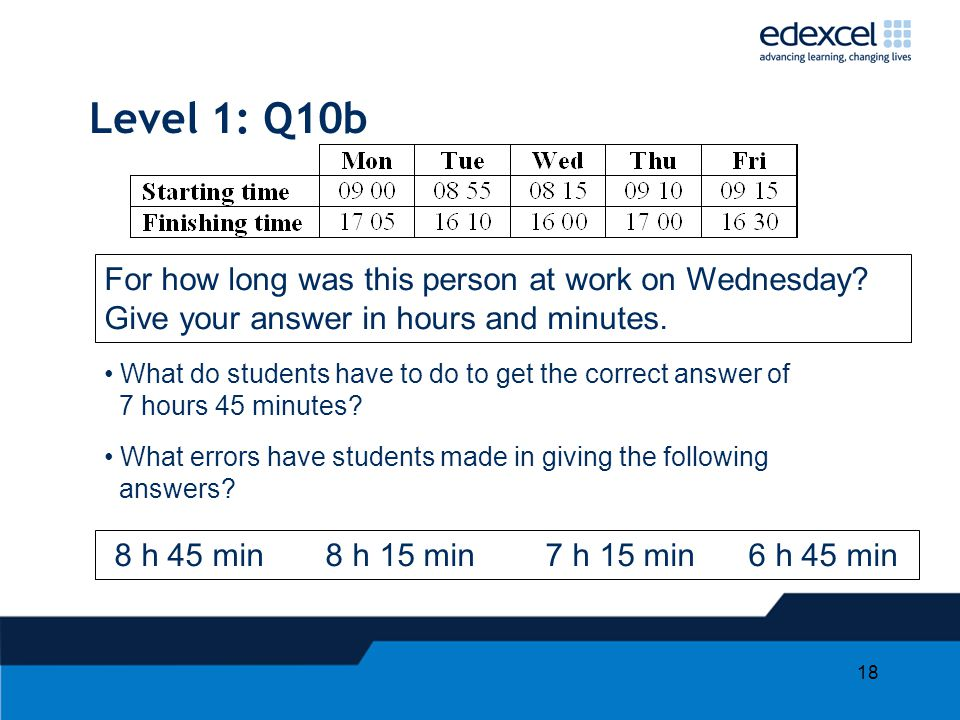 18 Level 1: Q10b For how long was this person at work on Wednesday? Give your answer in hours and minutes. What do students have to do to get the corr