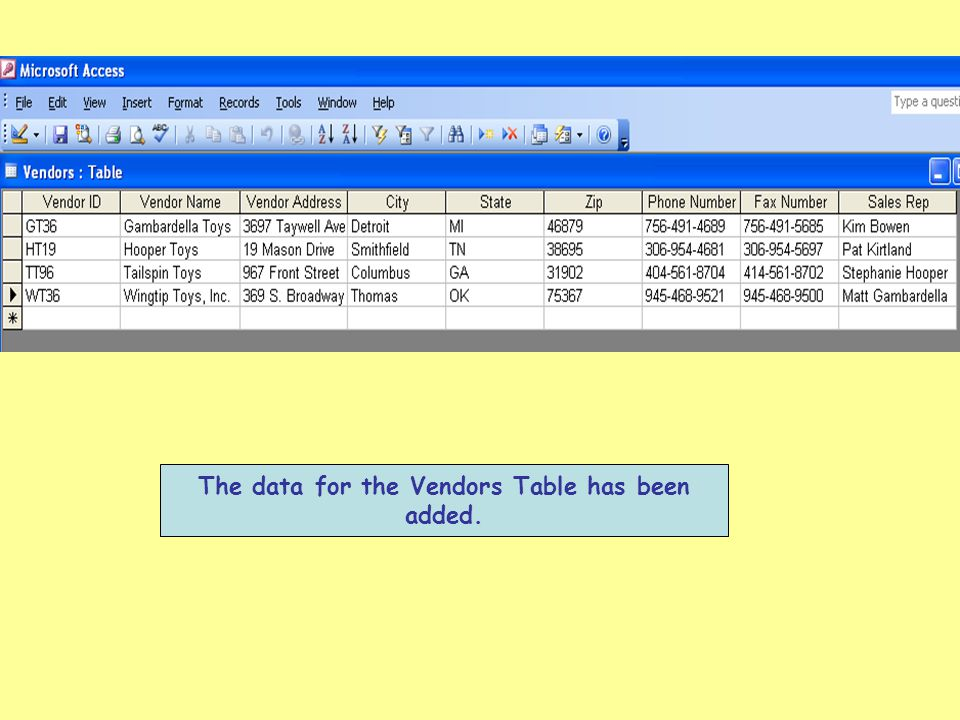 The data for the Vendors Table has been added.