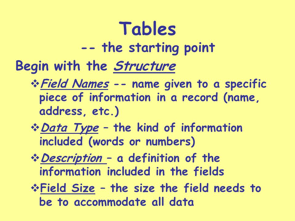 Everything has two views Design View – the structure Datasheet View – the information