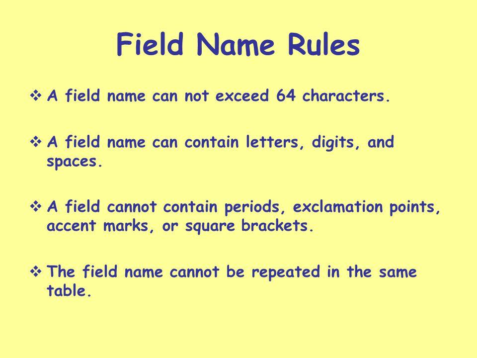 Field Names Data Records Record Selector