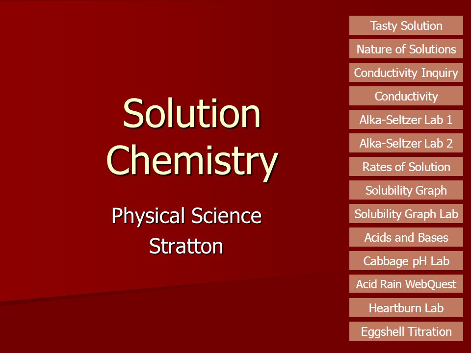 Solution Chemistry Physical Science Stratton Tasty Solution Nature of Solutions Conductivity Inquiry Conductivity Alka-Seltzer Lab 1 Rates of Solution