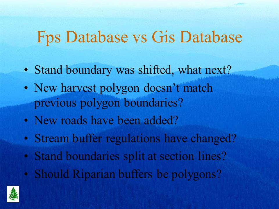 Fps Database vs Gis Database Stand boundary was shifted, what next.