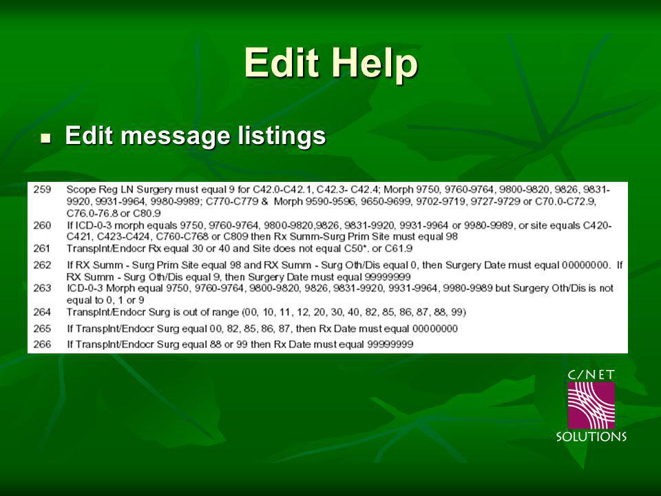 Edit Help Edit message listings Edit message listings