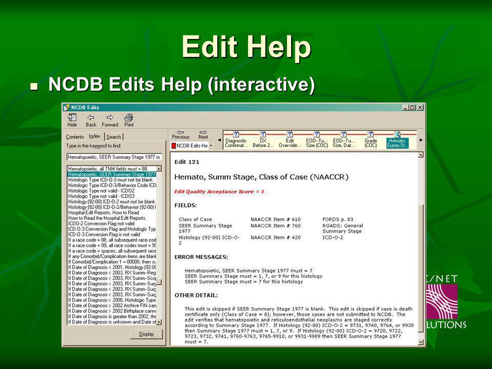 Edit Help NCDB Edits Help (interactive) NCDB Edits Help (interactive)