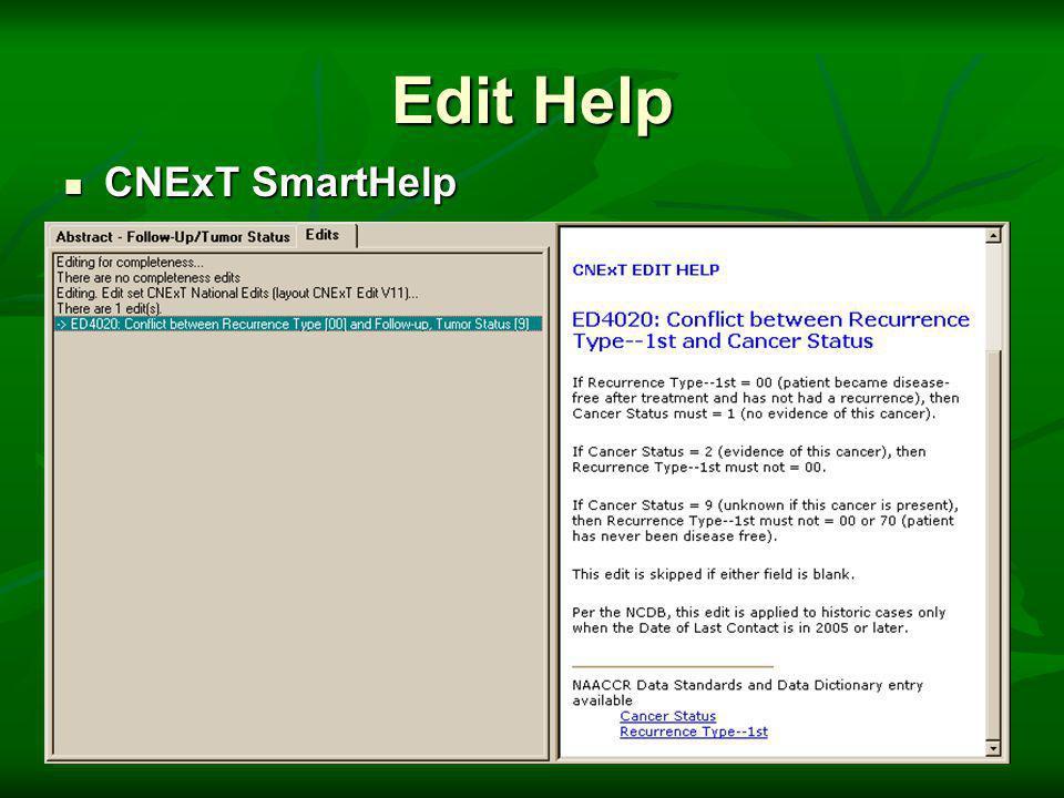 Edit Help CNExT SmartHelp CNExT SmartHelp