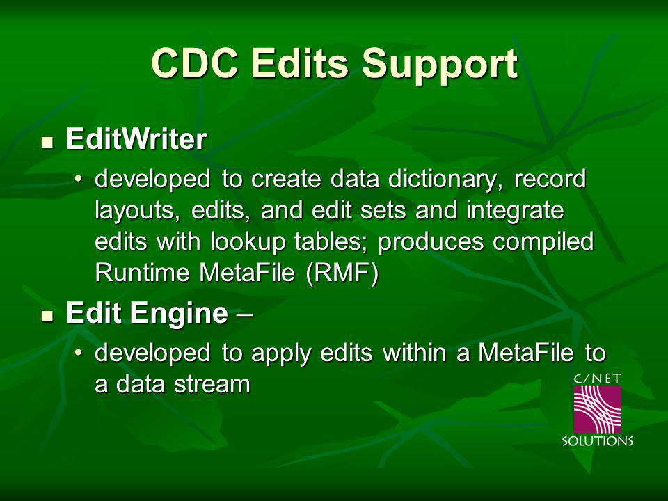 CDC Edits Support EditWriter EditWriter developed to create data dictionary, record layouts, edits, and edit sets and integrate edits with lookup tables; produces compiled Runtime MetaFile (RMF)developed to create data dictionary, record layouts, edits, and edit sets and integrate edits with lookup tables; produces compiled Runtime MetaFile (RMF) Edit Engine – Edit Engine – developed to apply edits within a MetaFile to a data streamdeveloped to apply edits within a MetaFile to a data stream Released to Cancer Registry Community in the mid-1990s Released to Cancer Registry Community in the mid-1990s
