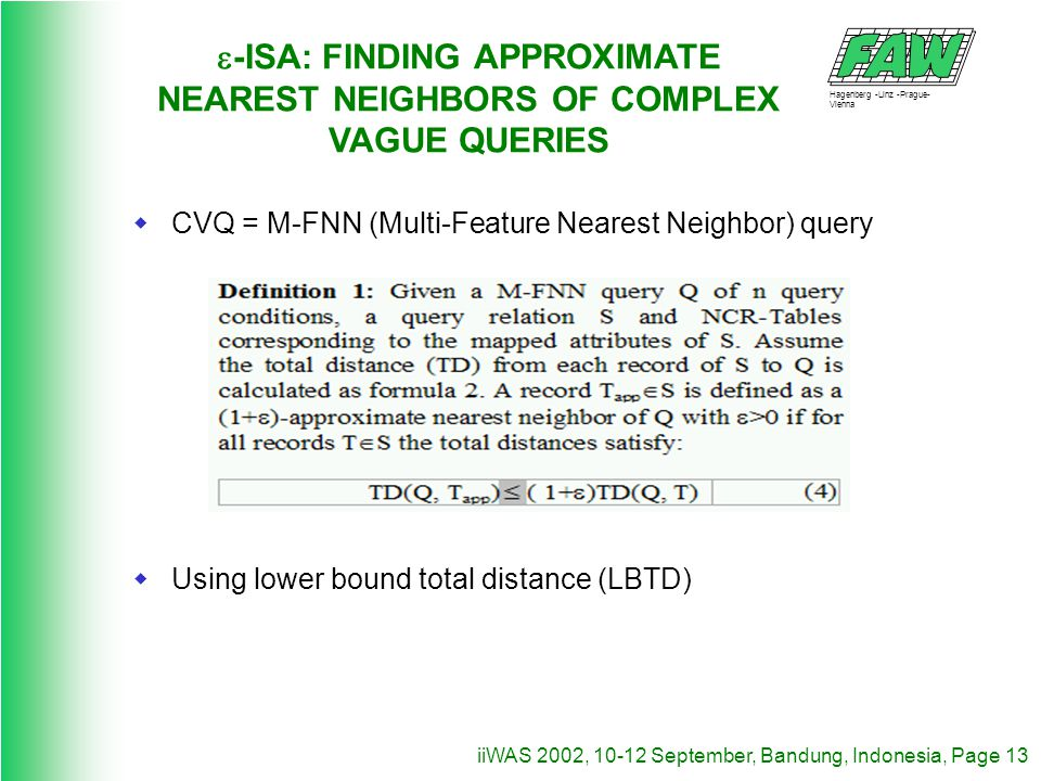 Hagenberg -Linz -Prague- Vienna iiWAS 2002, 10-12 September, Bandung, Indonesia, Page 13 -ISA: FINDING APPROXIMATE NEAREST NEIGHBORS OF COMPLEX VAGUE QUERIES CVQ = M-FNN (Multi-Feature Nearest Neighbor) query Using lower bound total distance (LBTD)
