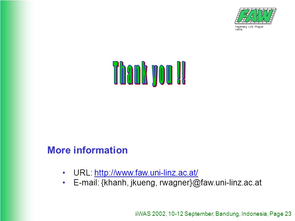 Hagenberg -Linz -Prague- Vienna iiWAS 2002, 10-12 September, Bandung, Indonesia, Page 23 More information URL: http://www.faw.uni-linz.ac.at/ E-mail: {khanh, jkueng, rwagner}@faw.uni-linz.ac.at