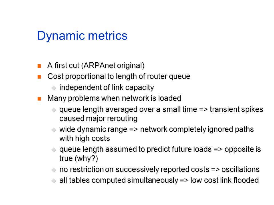 Dynamic metrics A first cut (ARPAnet original) A first cut (ARPAnet original) Cost proportional to length of router queue Cost proportional to length