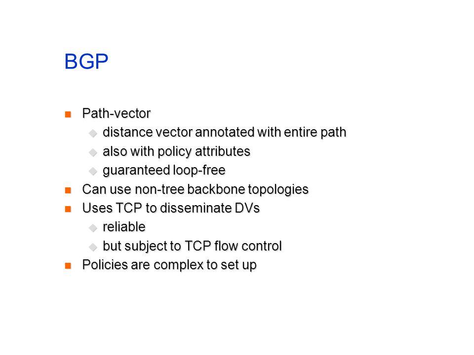 BGP Path-vector Path-vector distance vector annotated with entire path distance vector annotated with entire path also with policy attributes also wit