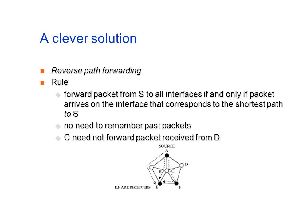 A clever solution Reverse path forwarding Reverse path forwarding Rule Rule forward packet from S to all interfaces if and only if packet arrives on t