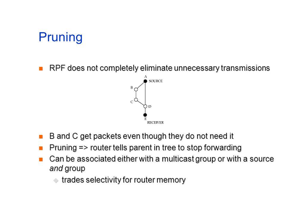 Pruning RPF does not completely eliminate unnecessary transmissions RPF does not completely eliminate unnecessary transmissions B and C get packets ev