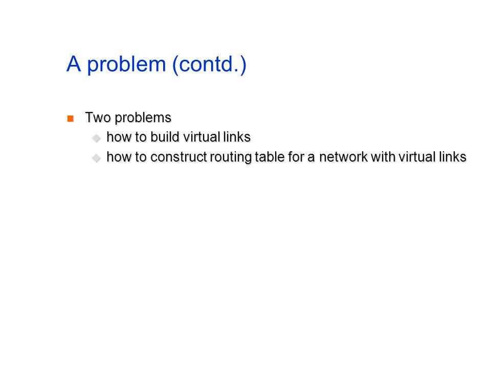 A problem (contd.) Two problems Two problems how to build virtual links how to build virtual links how to construct routing table for a network with v