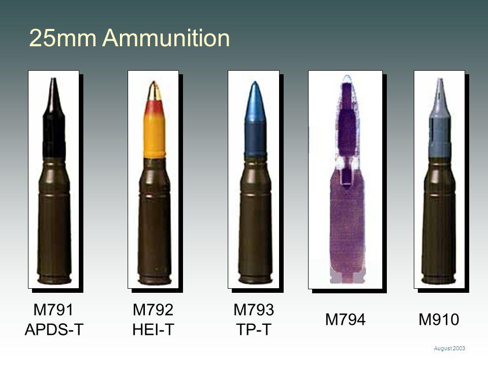 August 2003 25mm Ammunition M792 HEI-T M791 APDS-T M793 TP-T M794M910