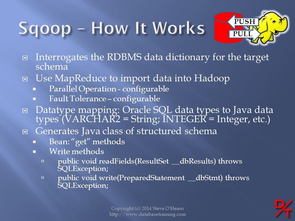 Copyright (c) 2014 Steve O'Hearn http://www.databasetraining.com Interrogates the RDBMS data dictionary for the target schema Use MapReduce to import