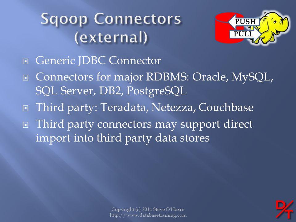 Copyright (c) 2014 Steve O'Hearn http://www.databasetraining.com Generic JDBC Connector Connectors for major RDBMS: Oracle, MySQL, SQL Server, DB2, Po