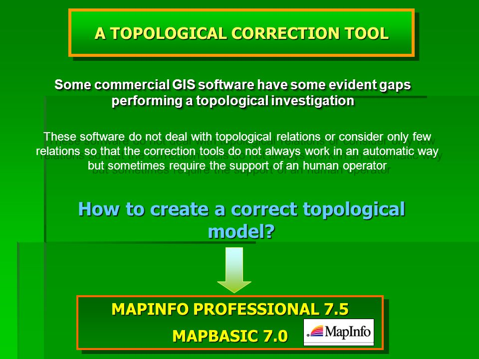 MAPINFO PROFESSIONAL 7.5 MAPBASIC 7.0 MAPINFO PROFESSIONAL 7.5 MAPBASIC 7.0 A TOPOLOGICAL CORRECTION TOOL Some commercial GIS software have some evident gaps performing a topological investigation These software do not deal with topological relations or consider only few relations so that the correction tools do not always work in an automatic way but sometimes require the support of an human operator How to create a correct topological model