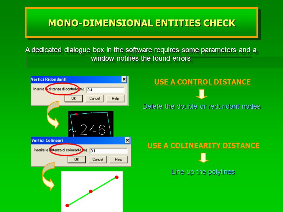USE A CONTROL DISTANCE Delete the double or redundant nodes USE A COLINEARITY DISTANCE Line up the polylines A dedicated dialogue box in the software