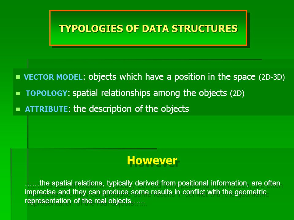 TYPOLOGIES OF DATA STRUCTURES VECTOR MODEL : objects which have a position in the space (2D-3D) TOPOLOGY : spatial relationships among the objects (2D