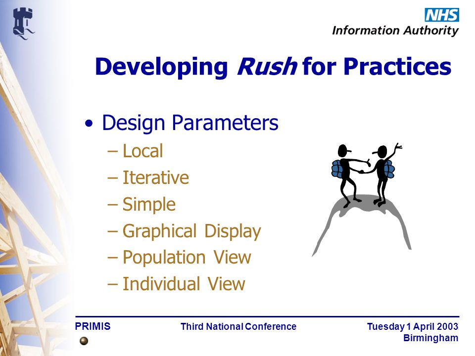 PRIMIS Third National Conference Tuesday 1 April 2003 Birmingham As easy as 1, 2, 3 Installation & configuration: only once per PC –R4P 100 release holder4\R4PG5.exeR4P 100 release holder4\R4PG5.exe Rush4p.xls –1.