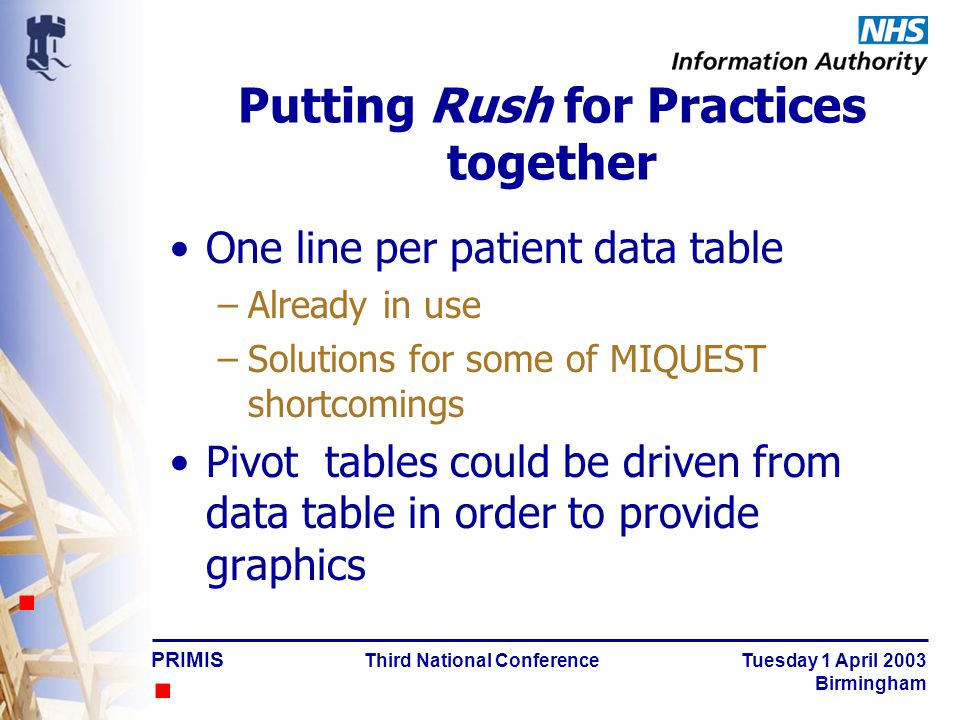 PRIMIS Third National Conference Tuesday 1 April 2003 Birmingham MIQUEST – problems to solve Updating date ranges Practice identity codes Meaningless column headings No graphics Finding the right queries at the right time