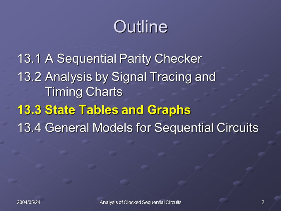 22004/05/24Analysis of Clocked Sequential Circuits Outline 13.1A Sequential Parity Checker 13.2Analysis by Signal Tracing and Timing Charts 13.3 State